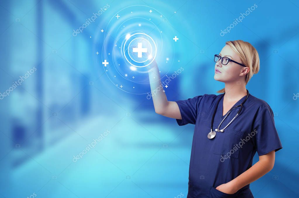 Doctor touching blue screen with call center concept stock vector