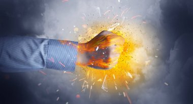 Hand hits strongly and makes fire beam around stock vector