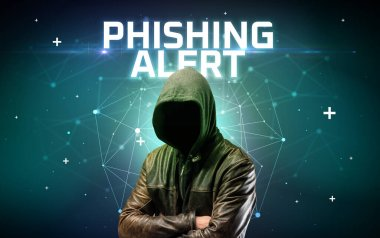 Mysterious hacker, online attack concept