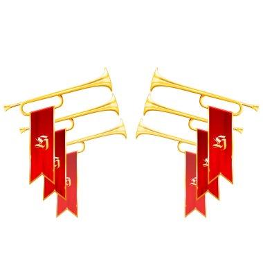 Fanfare triumph - crossed vintage trumpets symbolize glory