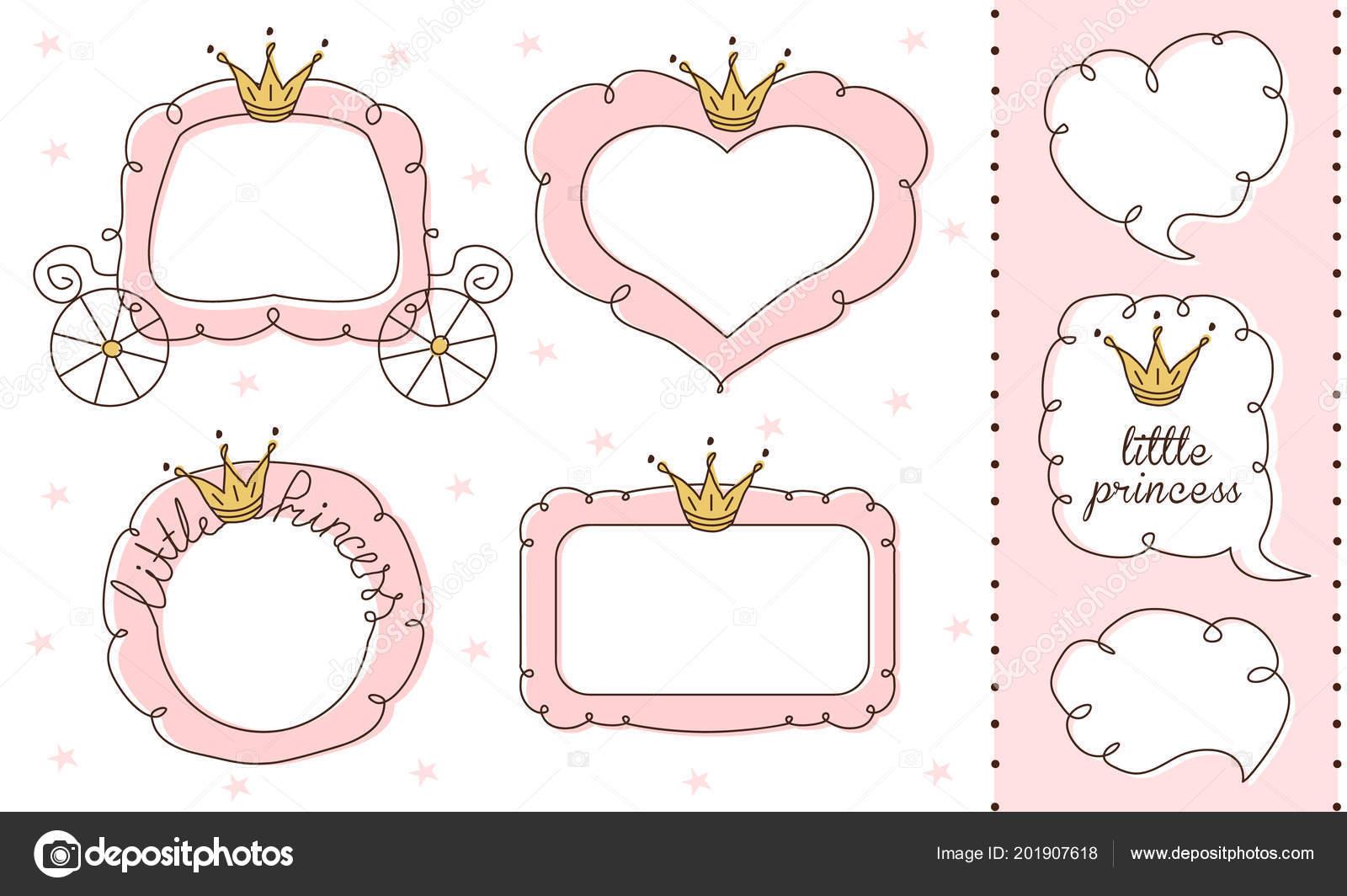 Set Cute Doodle Mirrors Princess Vector Element Design Pink