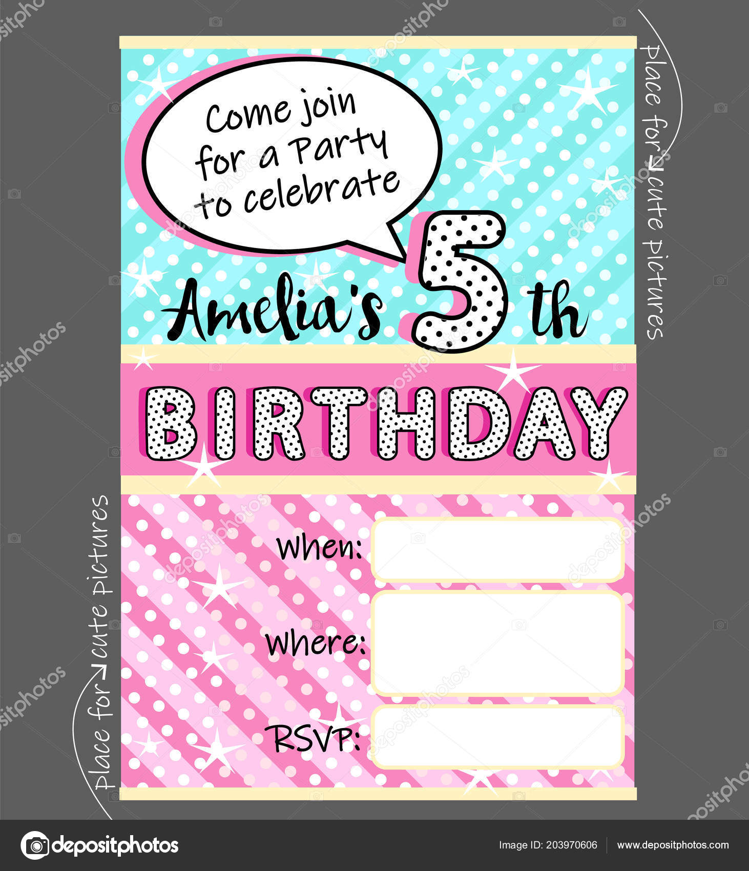 Vector invitation template girly party cute invite card birthday vector invitation template girly party cute invite card birthday baby vetores de stock stopboris Images