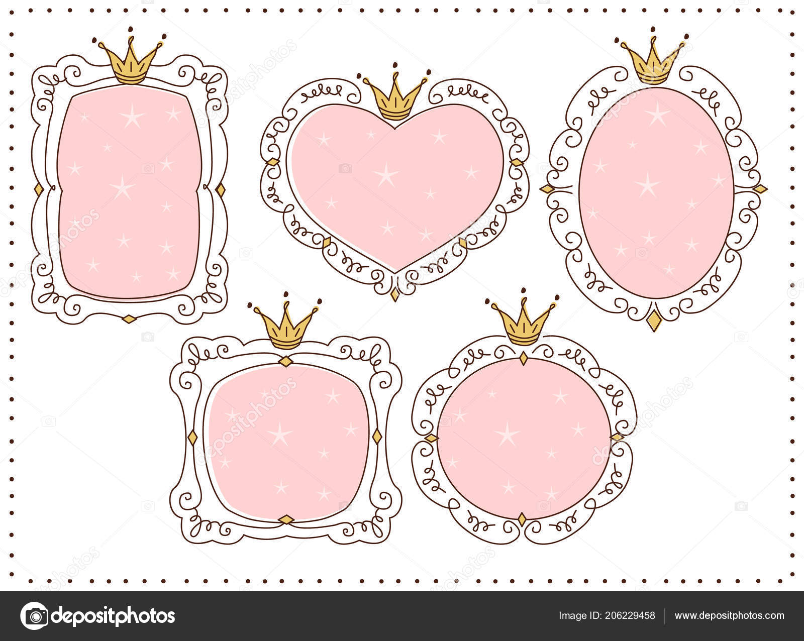 Set Cute Doodle Mirrors Princess Vector Element Design Pink Frames ...