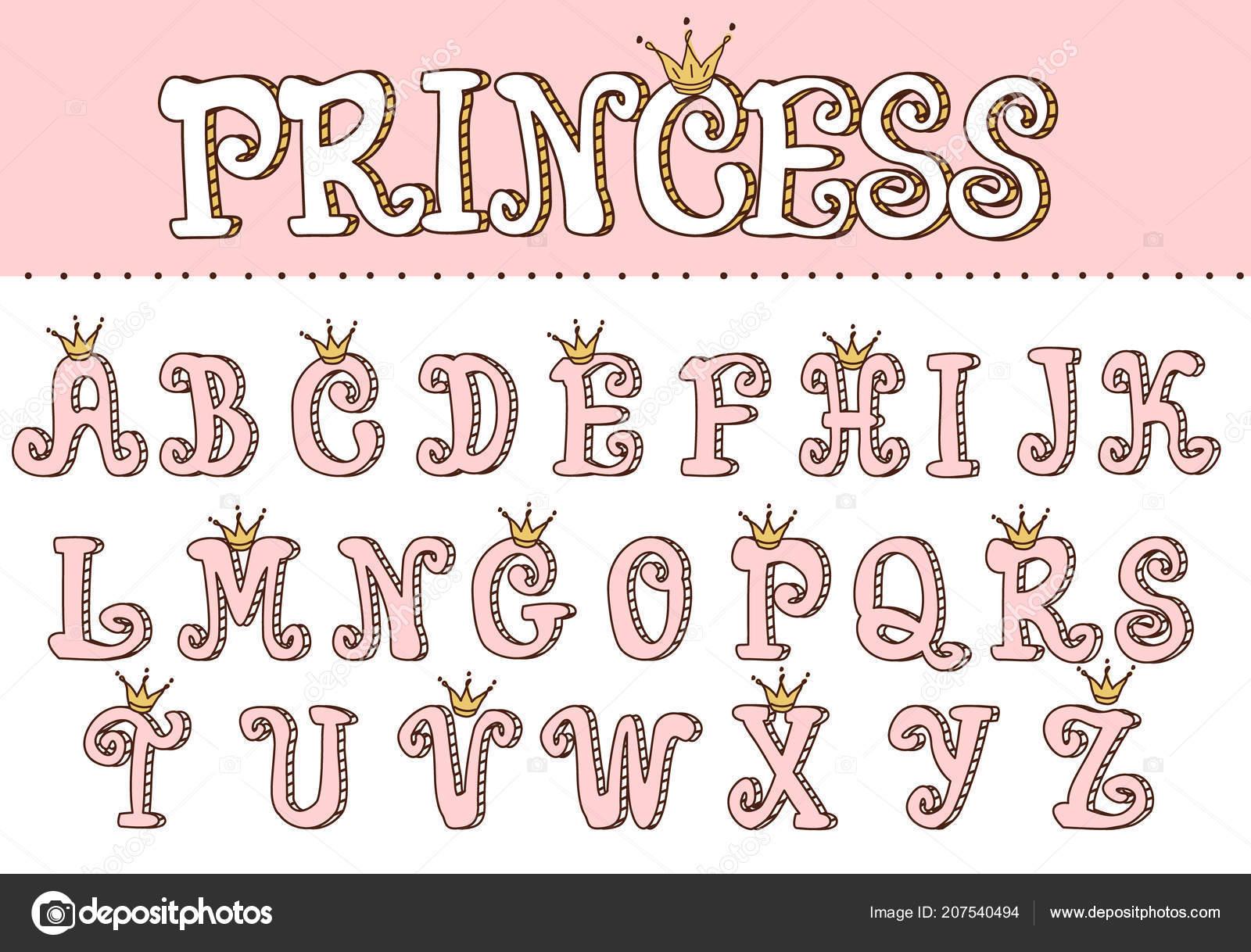 Letra Linda Princesa Rosa Letras Para Decoracion Estilo Nina Doodle