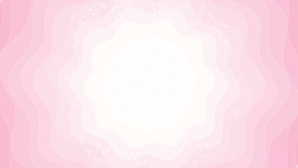 Light pink abstract flower background - seamless loop. Motion banner backdrop with shining bokeh sparkles.Smooth circular animation looped with bokeh particle. Sunlight with ray and hypnotic wave. Cute girlish