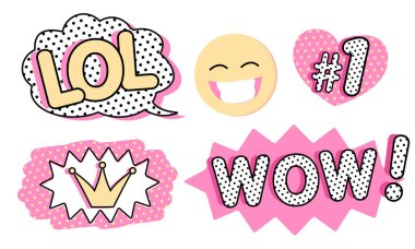 Set of cute vector stickers. Bubble for text, princess crown, WOW, LOL icons and laughing emoji. Pink color with black doodle stroke and dots. Pop art doll style. Photo booth props for birthday party