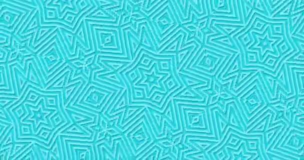 Zářivě tyrkysové geometrické pozadí. Abstraktní obrazce se přesunou do nekonečna. Kaleidoskop květ Středního východu ornament. Stylový moderní design v pohybu. Islámská výzdoba vzor, papír řez efekt