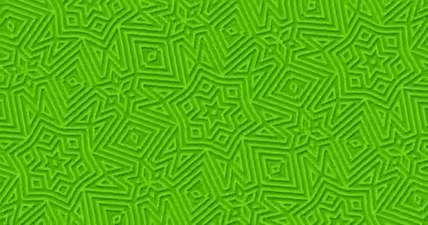Bright matte green geometric background. Abstract outlines shapes looped move. Kaleidoscope pattern. Stylish minimal modern motion design. Effect of cutting paper and embossing. Fresh minimalist color