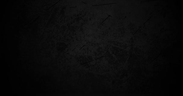 Black grunge animation background. Textured worn old rough wall. Poster of old film - vintage style. Dark grey blank backdrop banner with dust, scratch, scuff. Top view of concrete, metal, wood table