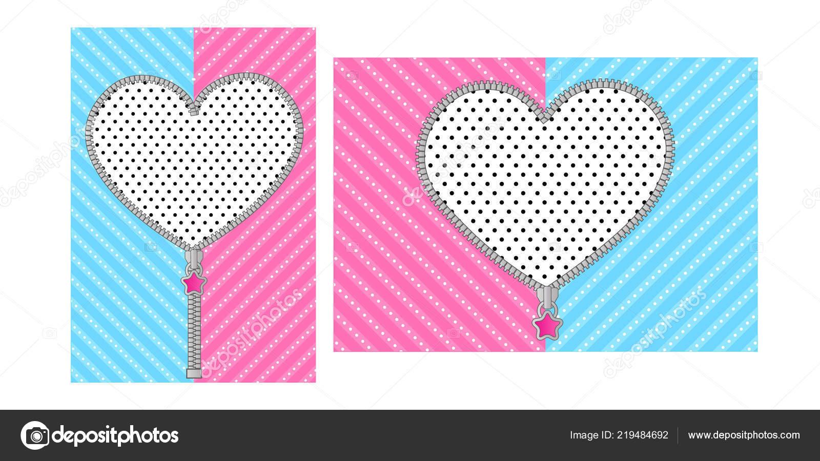 Zíper Coração Aberto Com Bloqueio Giro Fundo Rosa Azul