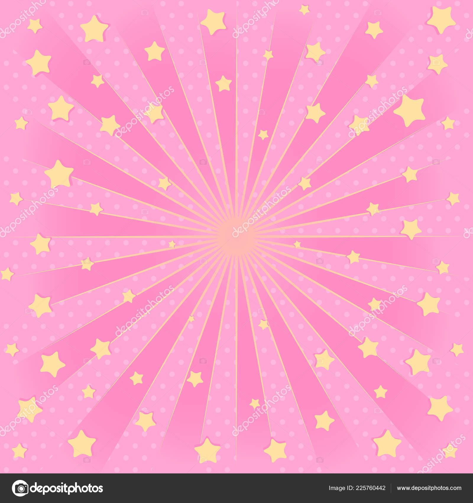 Pink Background Sunbeams Flying Star Air Romantic Elegante