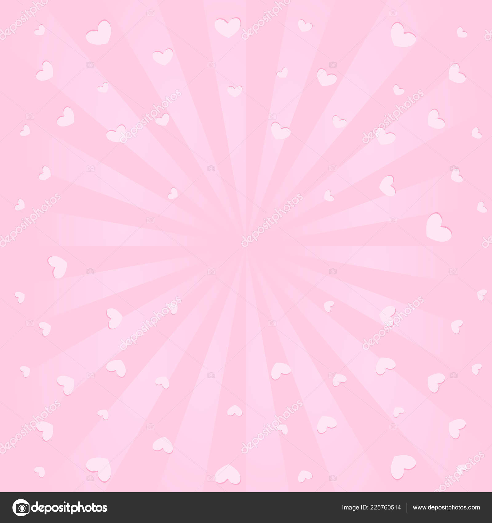 Joli Fond Rose Avec Des Rayons Soleil Battant Les Cœurs Image