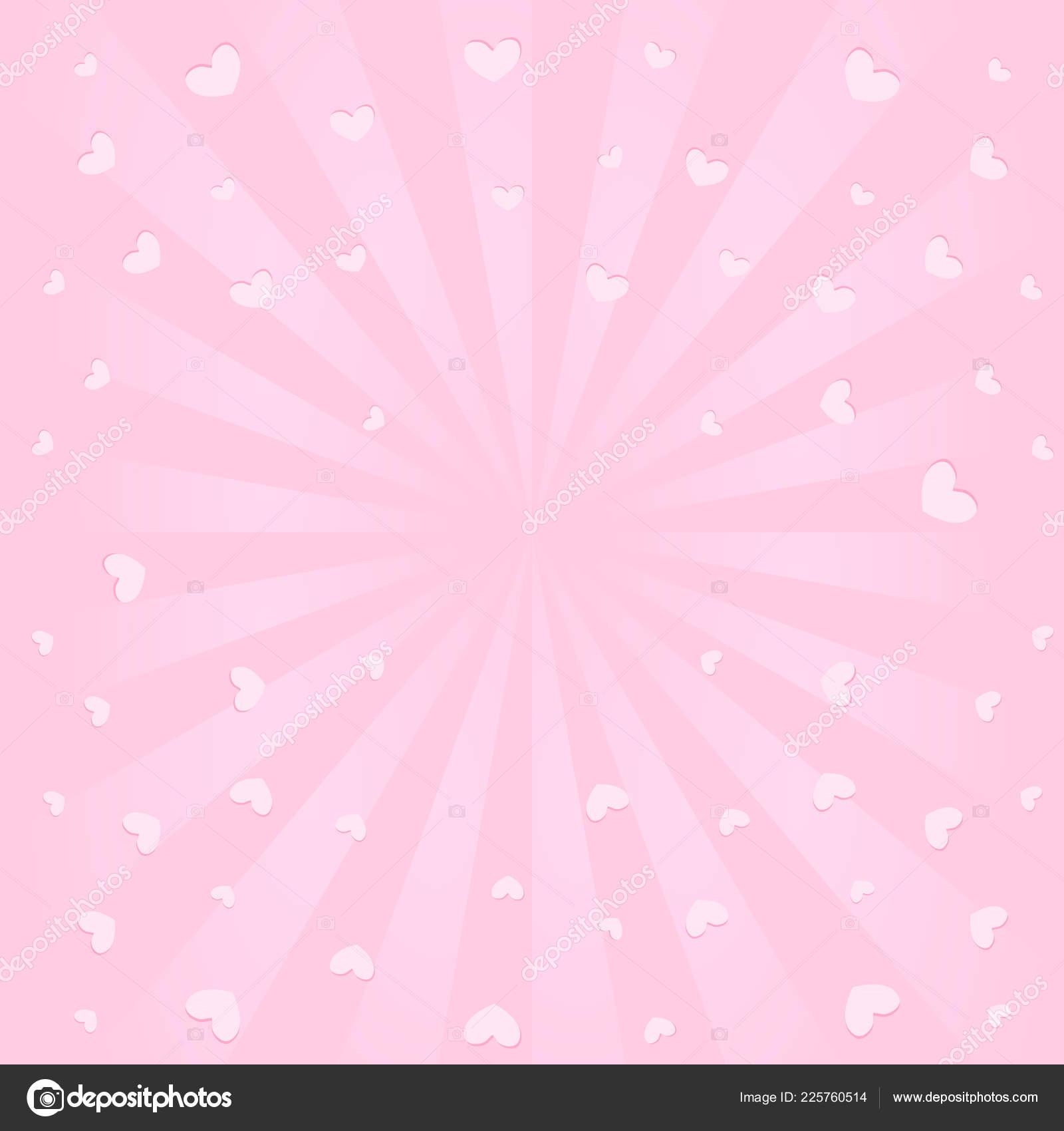 Cute Pink Background Sunbeams Flying Hearts Air Romantic