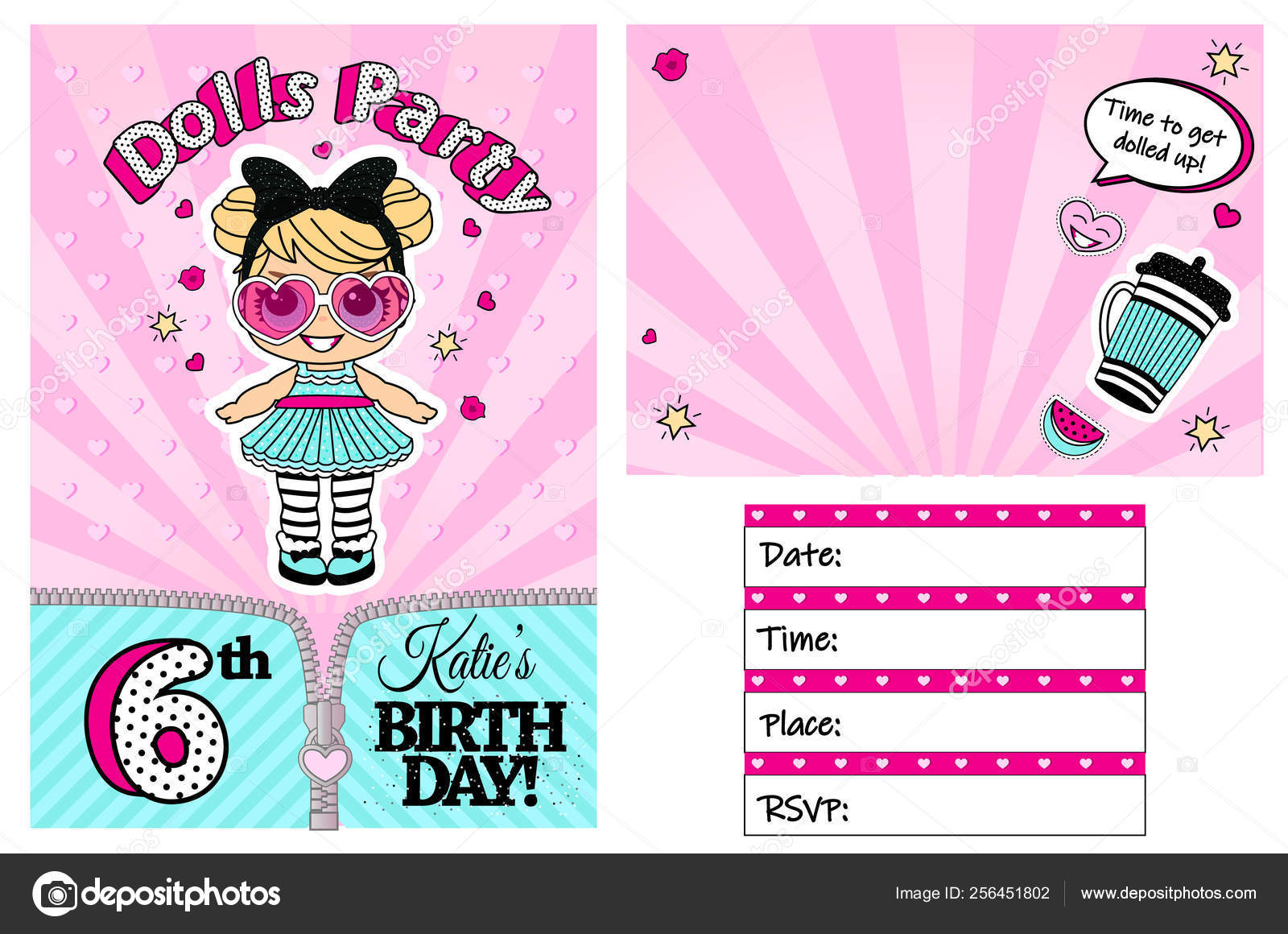 Title Pink Vector Template Invitation Card Little Girl