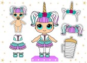 Cute vector illustration for kids party in lol surprise style. Set of doll clothes sticker. White unicorn headband with golden horns. Colorful hair wig: pastel soft pink, purple, mint color. Big eyes