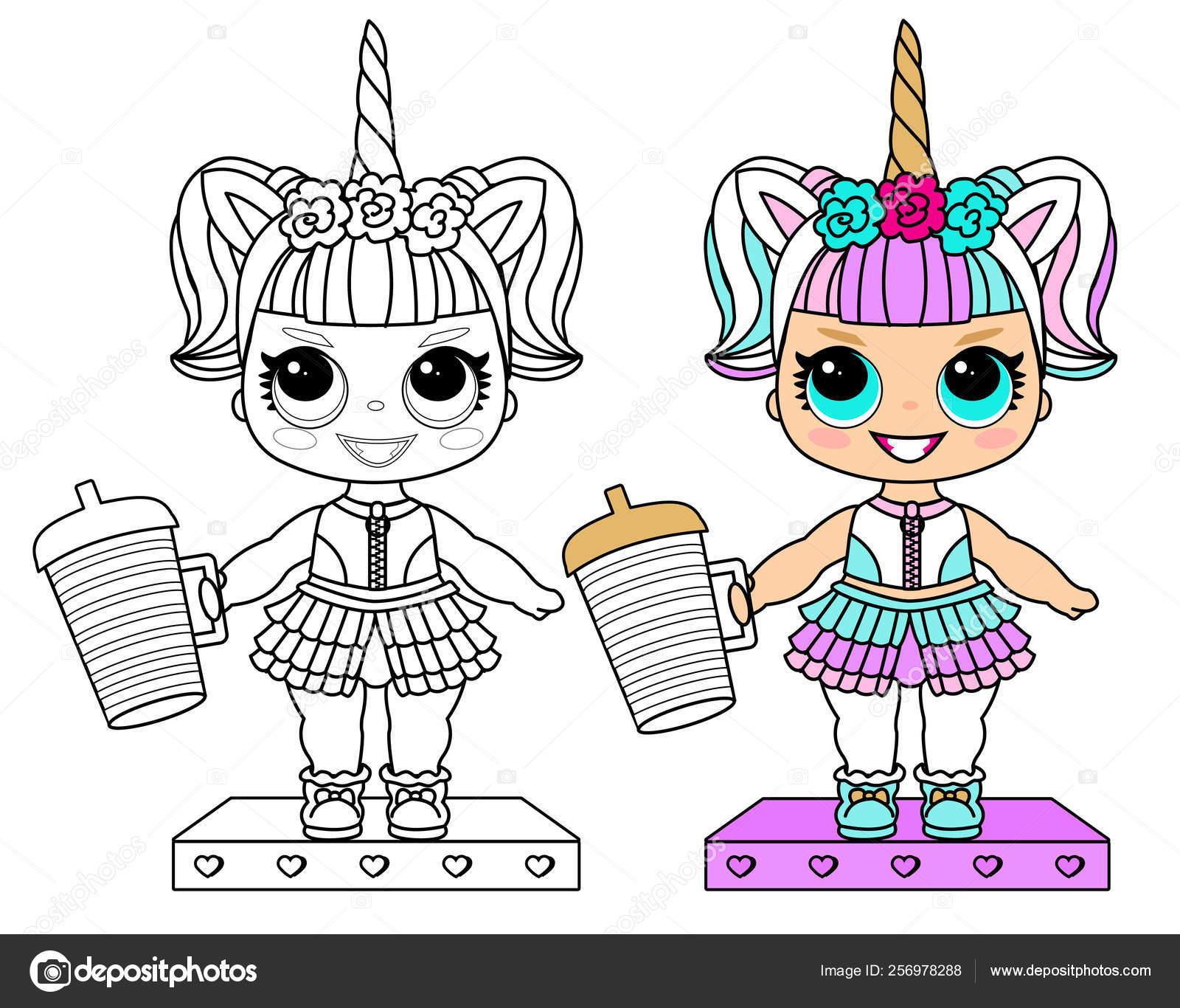 Traje Unicornio Página Vectorial Para Colorear Colección