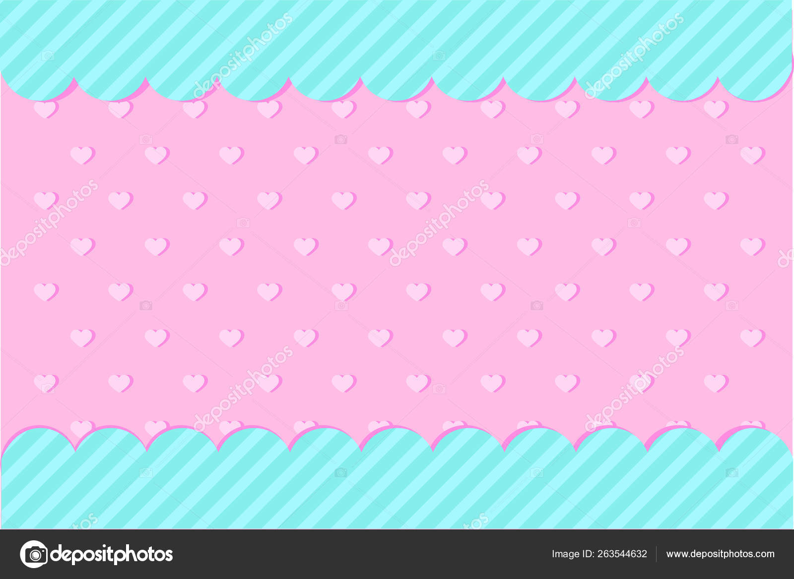 Set Vector Background Hearts Dots Invitation Card Candy Shop