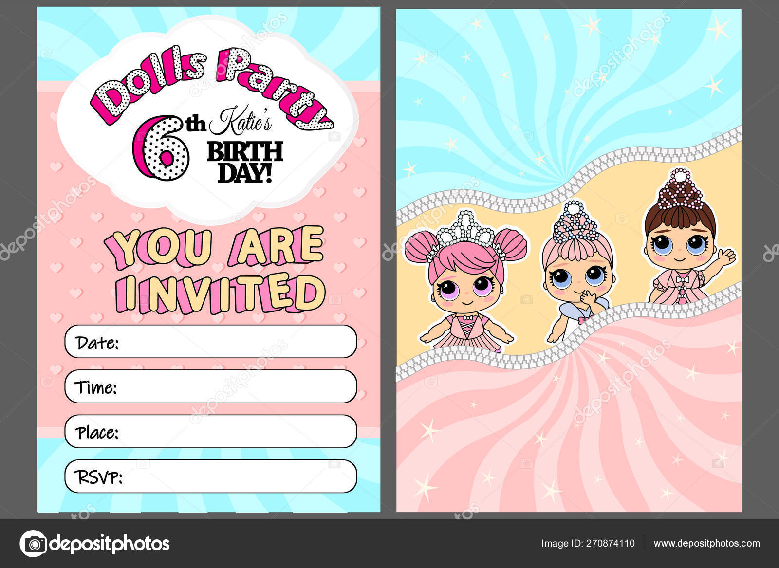 Pink Vector Template Invitation Card Little Girl Cute