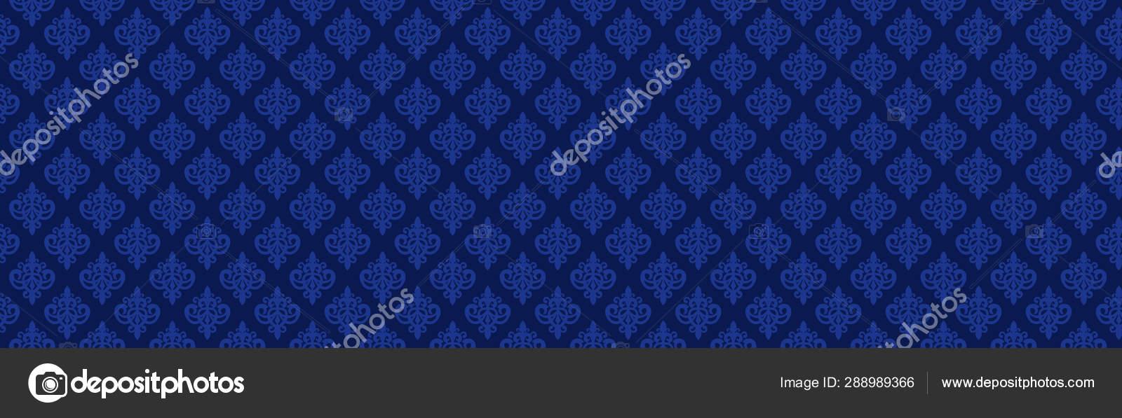 Patrón Damasco Sin Costuras Azul Marino Oscuro Fondo