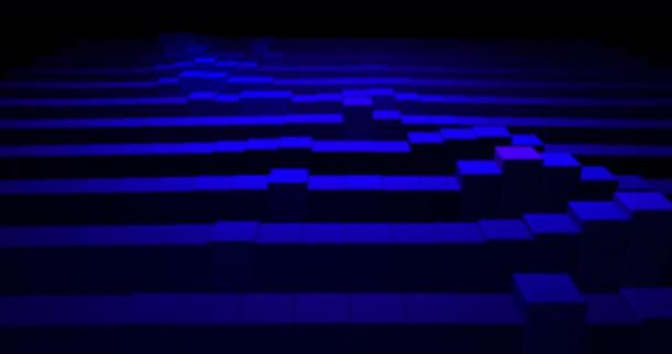 4k tmavě modré bezešvé smyčkové animace pozadí. Dynamický leták rozložení 3d. Minimální pohyby grafu obchod prázdné bloky. Obchodní korporátní koncept digitální image. Investice rostou. Úspěch grafu