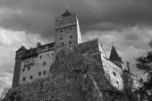 The Bran castle in Transylvania, Romania. Also known as the castle of Vladislav Dracula (the Impaler). Black and white