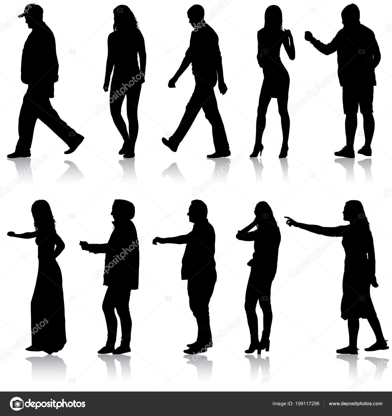 Sagome Persone Che Camminano.Sagoma Set Di Persone Che Camminano Su Priorita Bassa Bianca