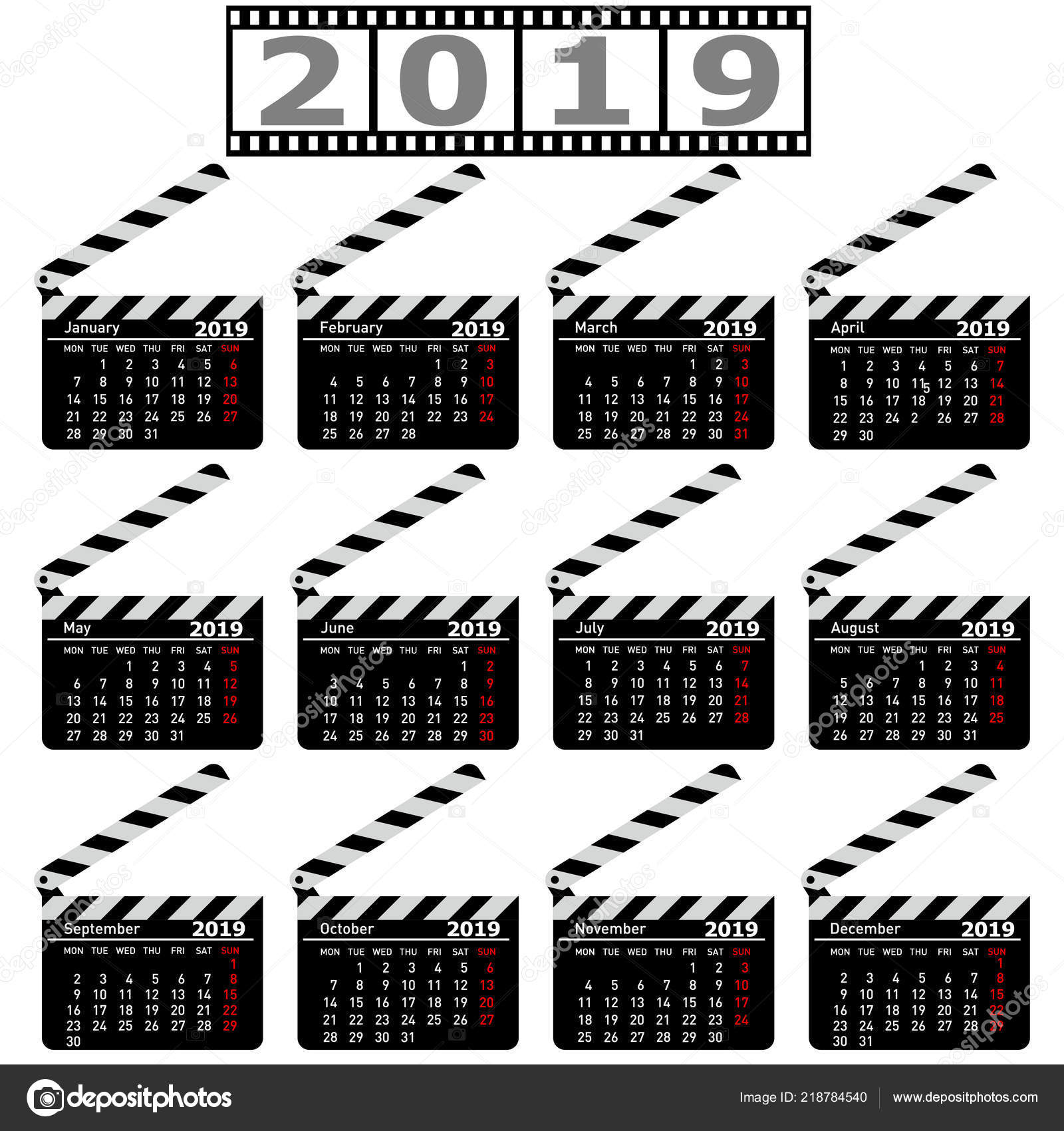 2019 Movie Calendar Calendar for 2019, movie clapper board on a white background