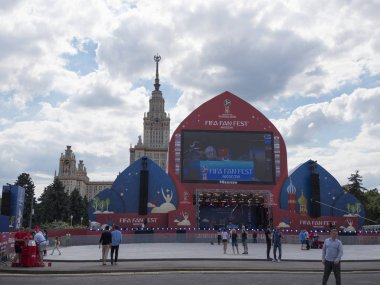 MOSCOW Russia - JUNE 20, 2018: Official FIFA banner in front of the fan zone with the inscription - FIFA Fan Fest of the FIFA World Cup 2018 in Russia