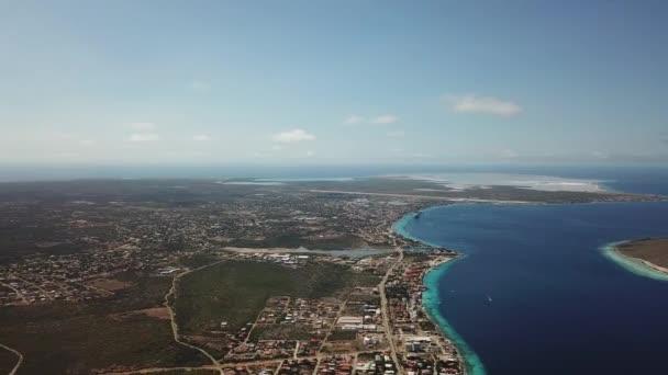 sea beach coast Bonaire island Caribbean sea aerial drone top view 4K UHD video