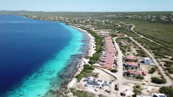 villa beach coast Bonaire island Caribbean sea aerial drone top view 4K UHD video