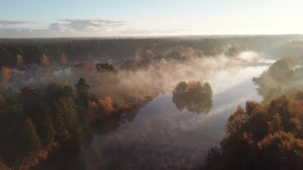 Reggel a füst a víz Ulbroka tó légi drone felső Nézd 4 k Uhd videóinak Lettország