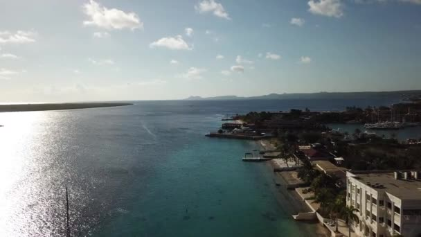 caribbean boat yacht harbor Bonaire island aerial drone top view 4K UHD