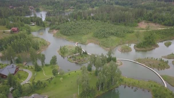 Amatciems Lake antenna drone felülnézetben 4k Uhd video Lettország