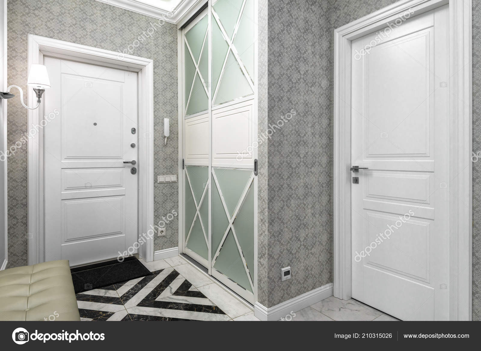 Moskau Juni 2018 Moderne Interieur Des Wohn Wohnung Flur Mit ...