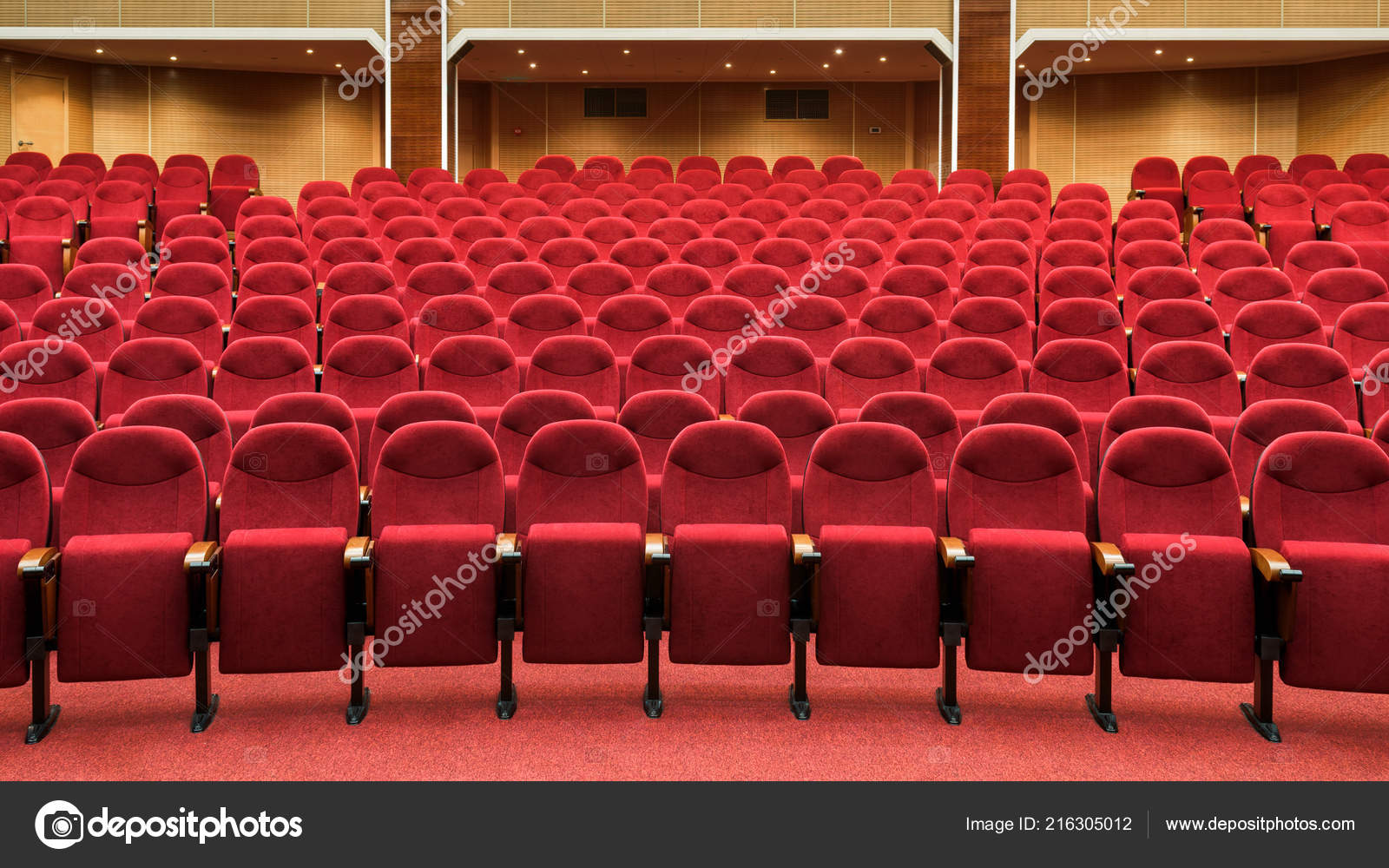 Panoramic View Empty Cinema Hall Rows Red Theater Seats Panorama Stock Photo C Scaliger 216305012