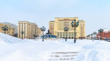 Manezhnaya Square or Manege in Moscow, Russia. Panorama of the M