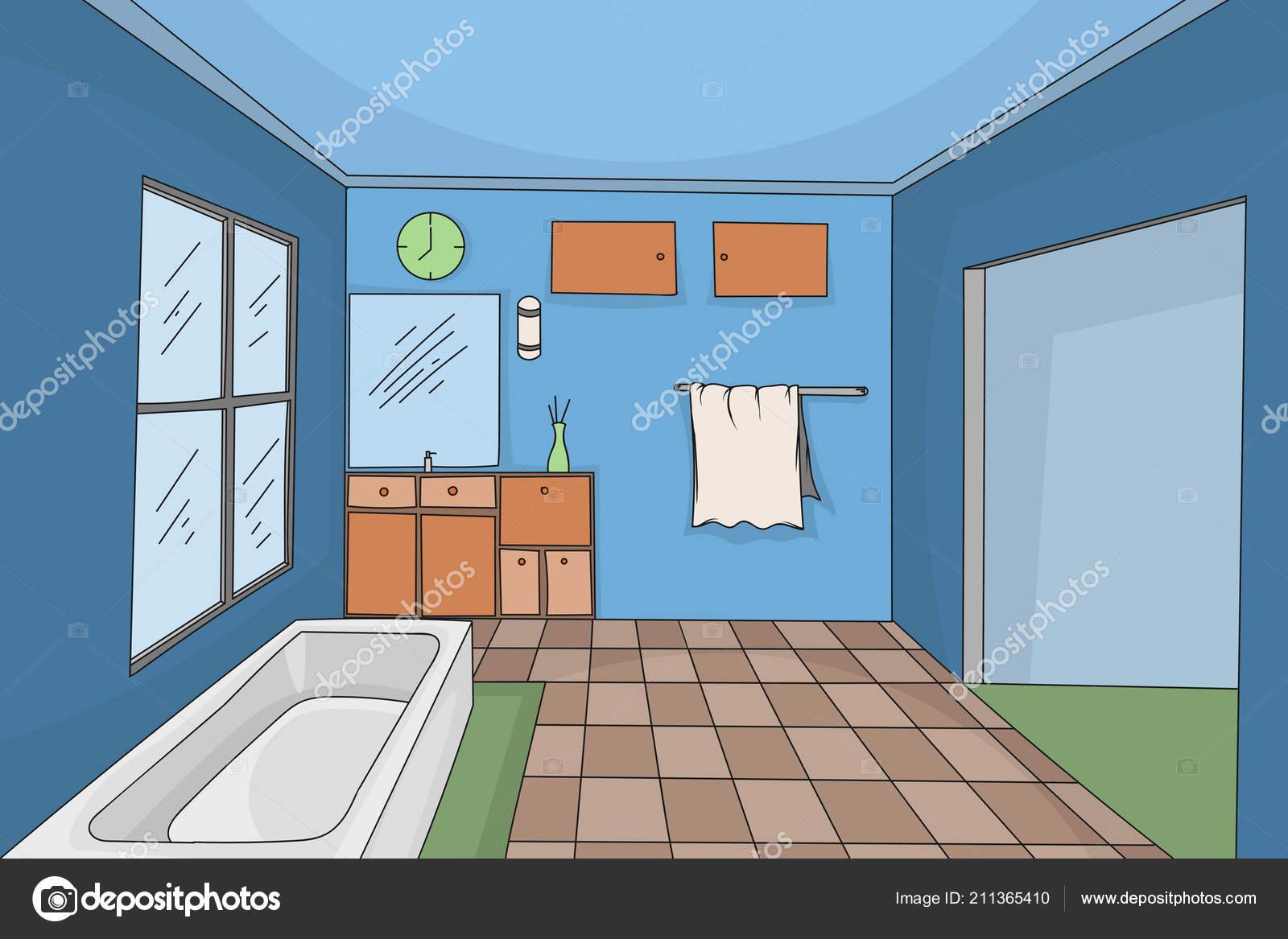 Bathroom Interior Colors Style Hand Drawing Scene Vector