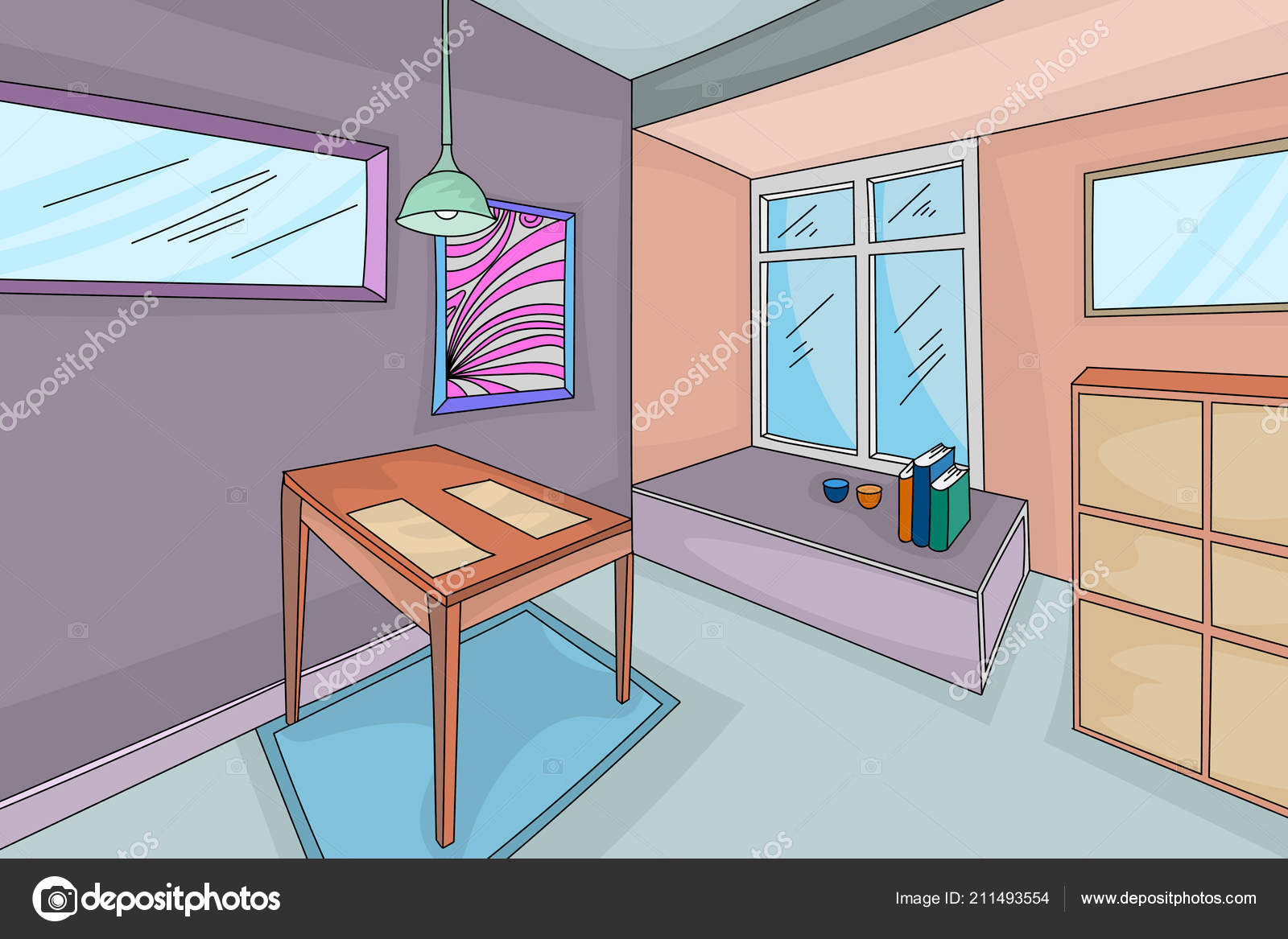 House Interior Hand Drawing Colors Style Vector Living Room