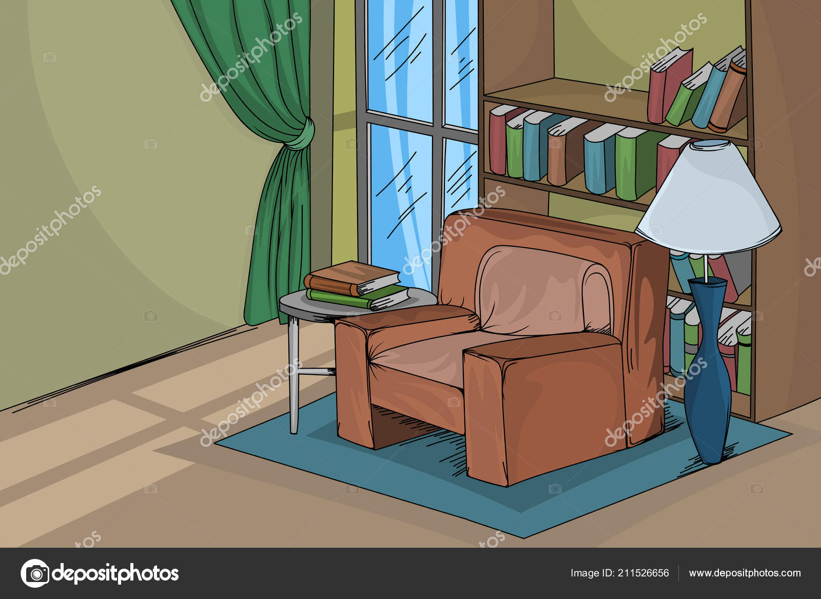 House Living Room Scene Vector Hand Drawing Interior Backgrounds Stock Vector C Mapichai 211526656
