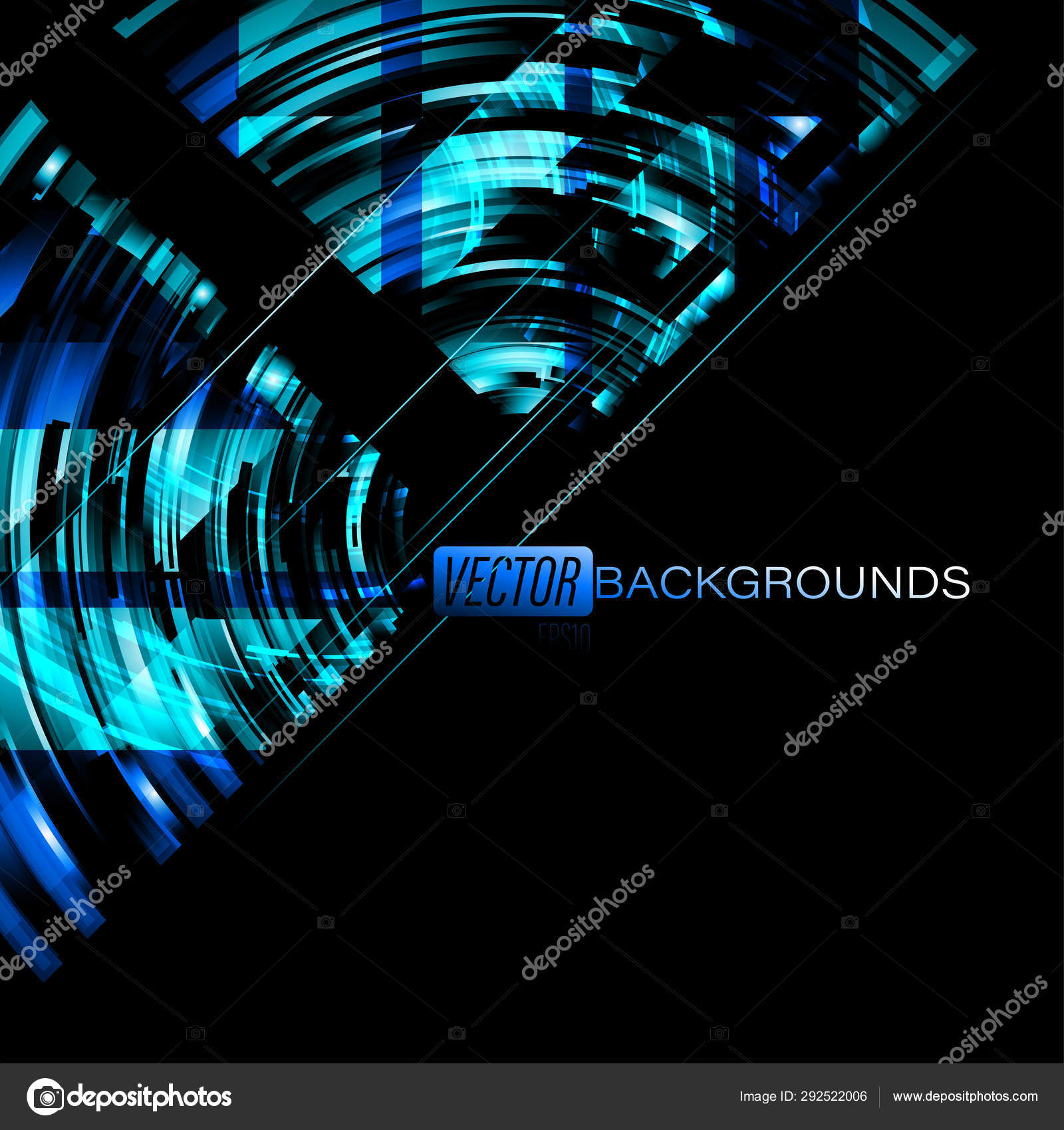 Abstract Blue Neon Colors Black Scene Vector Graphics Wallpaper