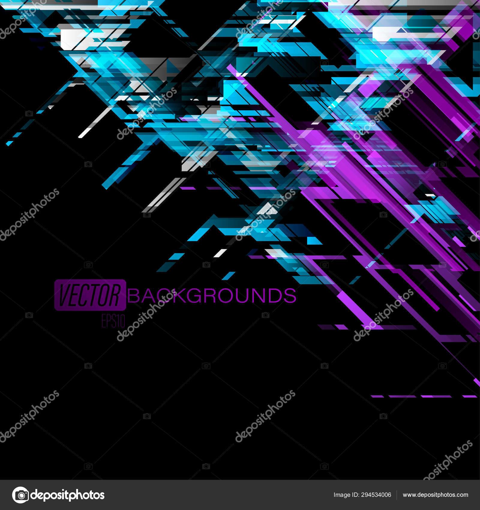 Abstract Blue Purple Geometric Shapes Black Scene Vector Graphics