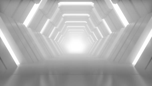 realistisches sechseckiges futuristisches Studio, in dem die Kamera vorwärts bewegt wird. Langsames Gehen auf der sauberen und leeren Halle. 3D-Darstellung.