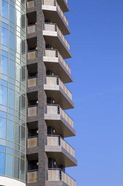 The facade of a glass modern city building.Vertically.Horizontally.