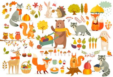 FAll theme set, forest Animals hand drawn style. Vegetables, trees, leaves, food for harvest festival or Thanksgiving day. Cute autumn charactrs - bear, fox, raccoon, squirel. Vector illustration. stock vector
