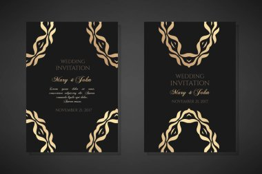 Wedding invitation templates. Cover design with ornaments and black background. Vector decorative vertical posters with copy space..