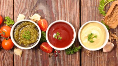 ketchup, mayonnaise or mustard and pesto sauce
