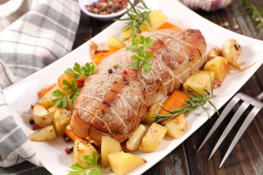 Roast veal with potatoes and carrots stock vector
