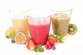 fruit juice, smoothie on white background