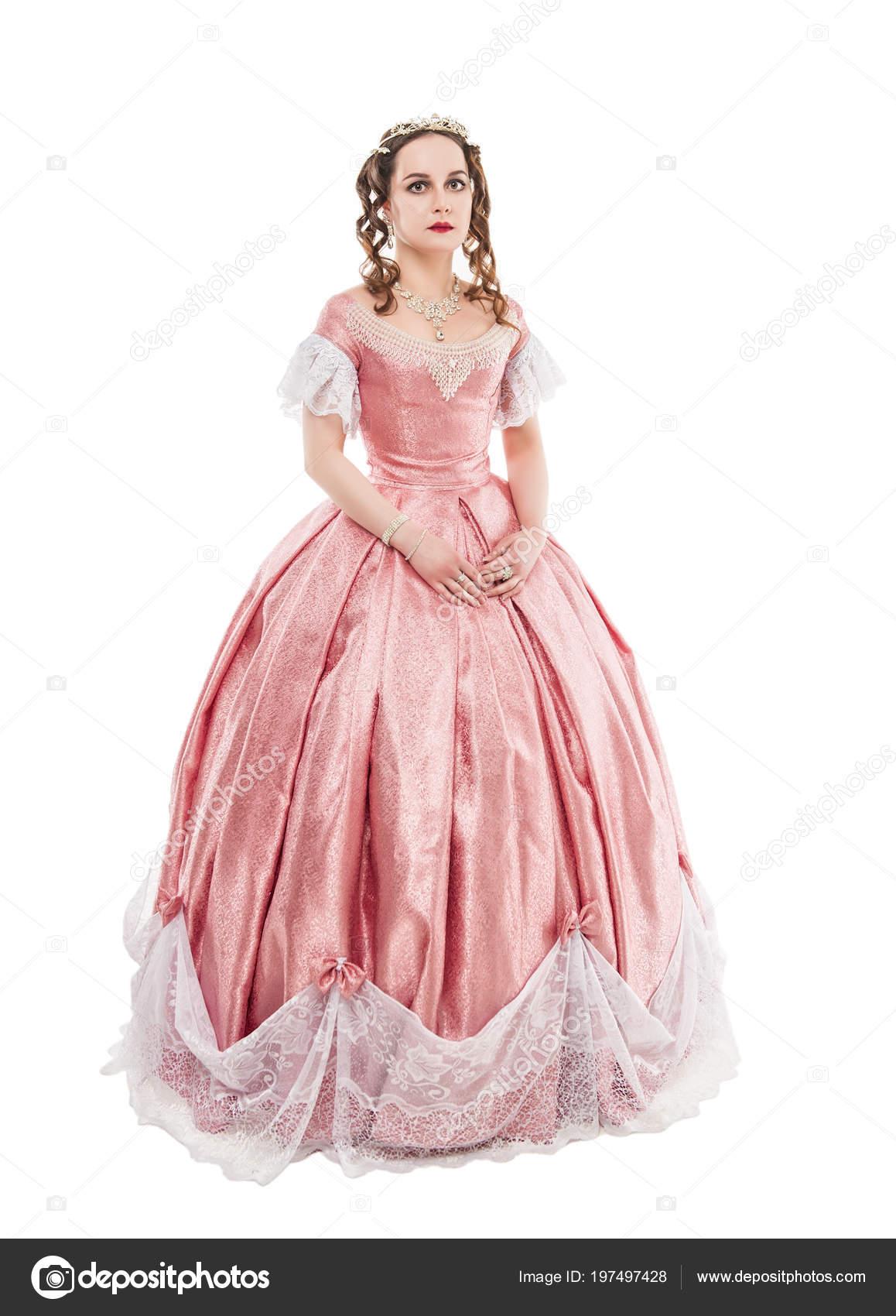 ea02f6c2336c Νεαρή Όμορφη Γυναίκα Στο Μεσαιωνικό Φόρεμα Που Απομονώνονται Λευκό —  Φωτογραφία Αρχείου