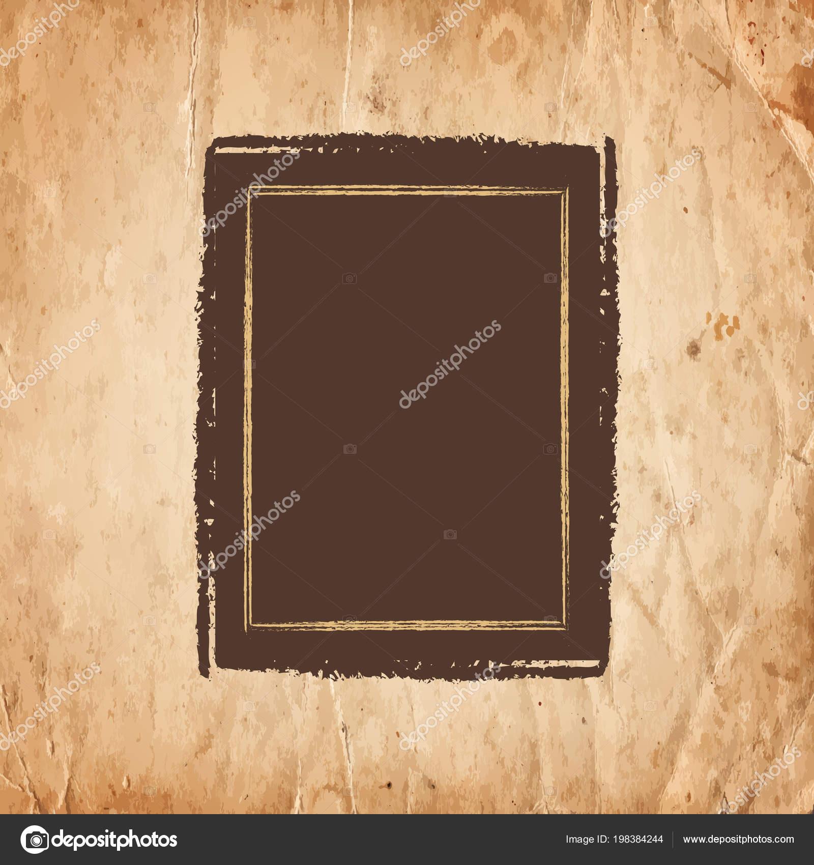 Blanc Cadre Vide Dessin Sur Fond Papier Ancien Illustration